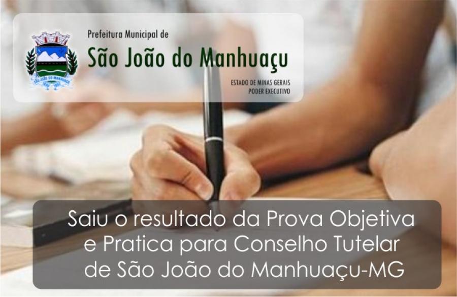 Resultado da Prova Objetiva e Prática para Conselho Tutelar de São João do Manhuaçu-MG